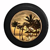 Full Color Tropical Sunset Palm Trees Tiki Huts Sandy Beach Infinity Pool to Ocean Jeep RV Camper Spare Tire Cover Black 32 in