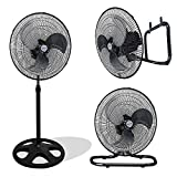Kool-it 3 in 1 Premium Large High Velocity Industrial Black Floor Fan 18″ Floor Stand Mount Oscillating