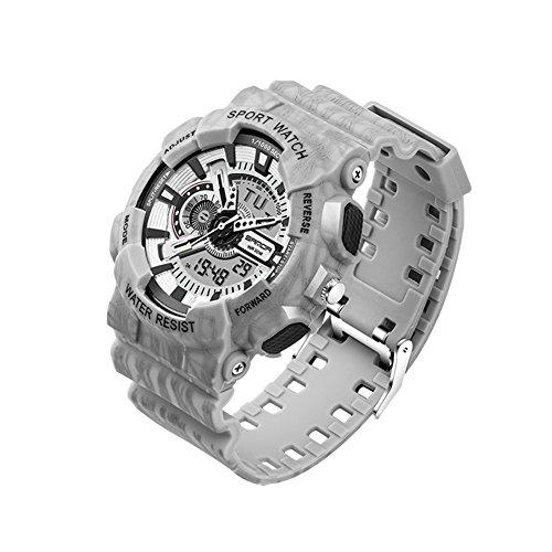 Waterproof Mens G Type Analog Digital Date Army Camo Sports Wrist Watch (grey)