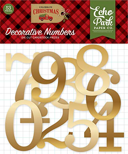 Echo Park Paper Company CCH159029 Celebrate Christmas Gold Foil Numbers Ephemera, red, Green, tan, Burlap, Black ()