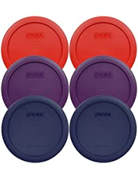 Favor Pyrex 7201-PC Round 4 Cup Storage Container Lids for Glass Bowls (2-Poppy Red, 2-Purple, 2-Navy Blue) online