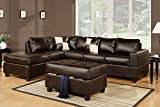 Leather Living Room Sets Bobkona Soft-Touch Reversible Bonded Leather Match 3-Piece Sectional Sofa Set, Espresso