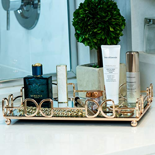 Lucaslo Tray Vanity Mirror Tray Coffee Table Tray Wedding Centerpiece Bathroom Decor Accent Table Tray Perfume Tray Jewelry Organizer Gifts for Women Gold Mirror Serving Tray