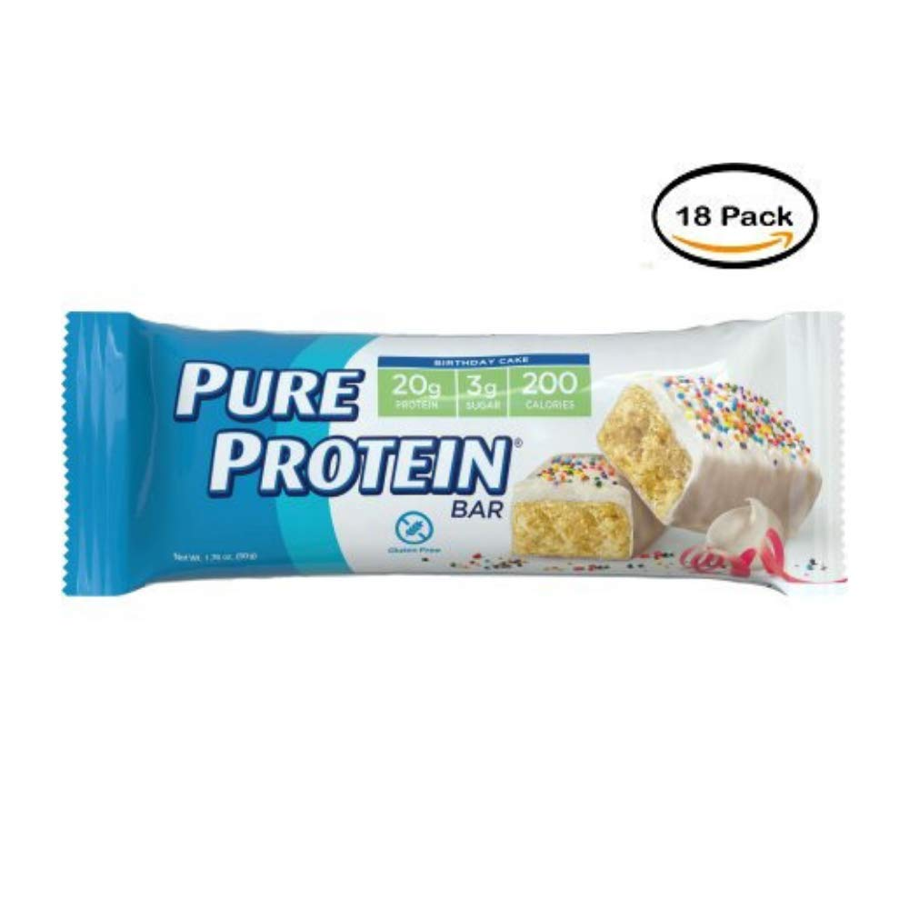 Pure Protein Bars, Gluten Free, Birthday Cake, 1.76 oz, 6 Count - Pack of 18