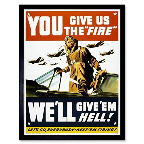 Wee Blue Coo Propaganda War WWII USA Pilot Fighter Jet Art Print Framed Poster Wall Decor 12x16 inch