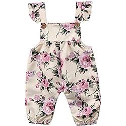 Newborn Kids Baby Girls Clothes Floral Jumpsuit Romper Playsuit + Headband Outfits (18-24 Months, Beige)