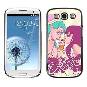 Carcasa Funda Prima Delgada SLIM Casa Case Bandera Cover Shell para Samsung Galaxy S3 I9300 / Business Style Sexy Ice Cream Girls Pop Art