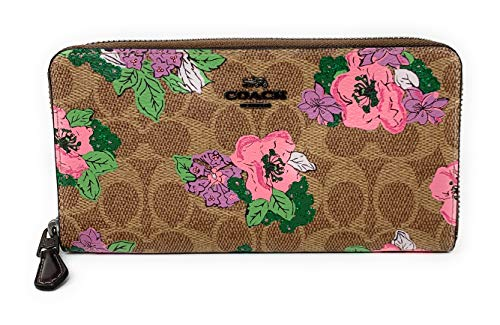 Coach Accordion Zip Wallet In Signature Canvas With Blossom Print Pink Flowers NEW