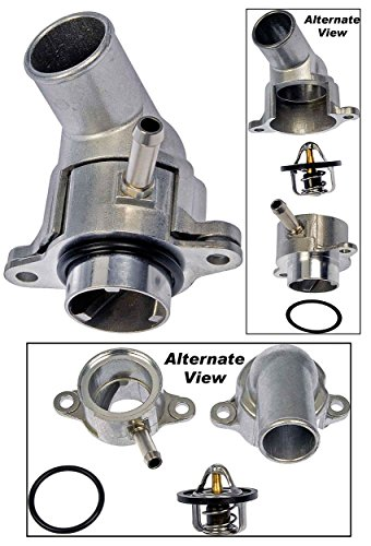 APDTY 013210 Thermostat With Upper & Lower Aluminum Housing & Oring Gaskets (Replaces 15-80783, 96282726, 96407677) (Housing Replacement Lower)