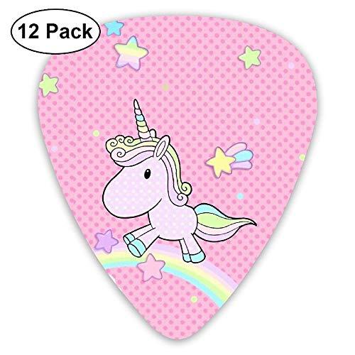 LLGUITAR Pink Unicorn Girl Guitar Picks 12pack Celluloid Plectrum Custom 0.46mm/ 0.71mm/ 0.96mm for Electric Acoustic Guitars Bass Best Stocking Stuffer Gifts for Kids Teens Adults (Girls Guitar Rock Picks)