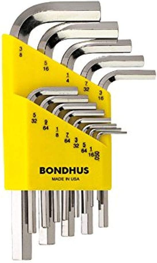 """Bondhus 16237 Set of 13 Hex L-wrenches w/BriteGuard,Short,sizes .050-3/8"""""""
