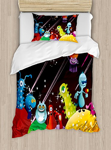 Funny Duvet Cover Set Twin Size by Ambesonne, Aliens Having A Party over Planets in Outer Space Androids Celestial Animals Design, Decorative 2 Piece Bedding Set with 1 Pillow Sham, Multicolor (Alien Duvet)