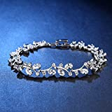 OneChance Fashion Jewelry Leaf Bracelet Gold Plated Alloy with Cubic Zirconia for Women