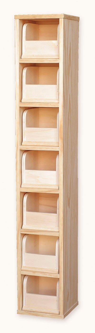 Muebles Natural - Archivador de Madera Natural sin Pintar con 7 cajones, para Pintar o barnizar, Dimensiones 20 cm Ancho x 20 cm Fondo x 120 cm Alto: ...