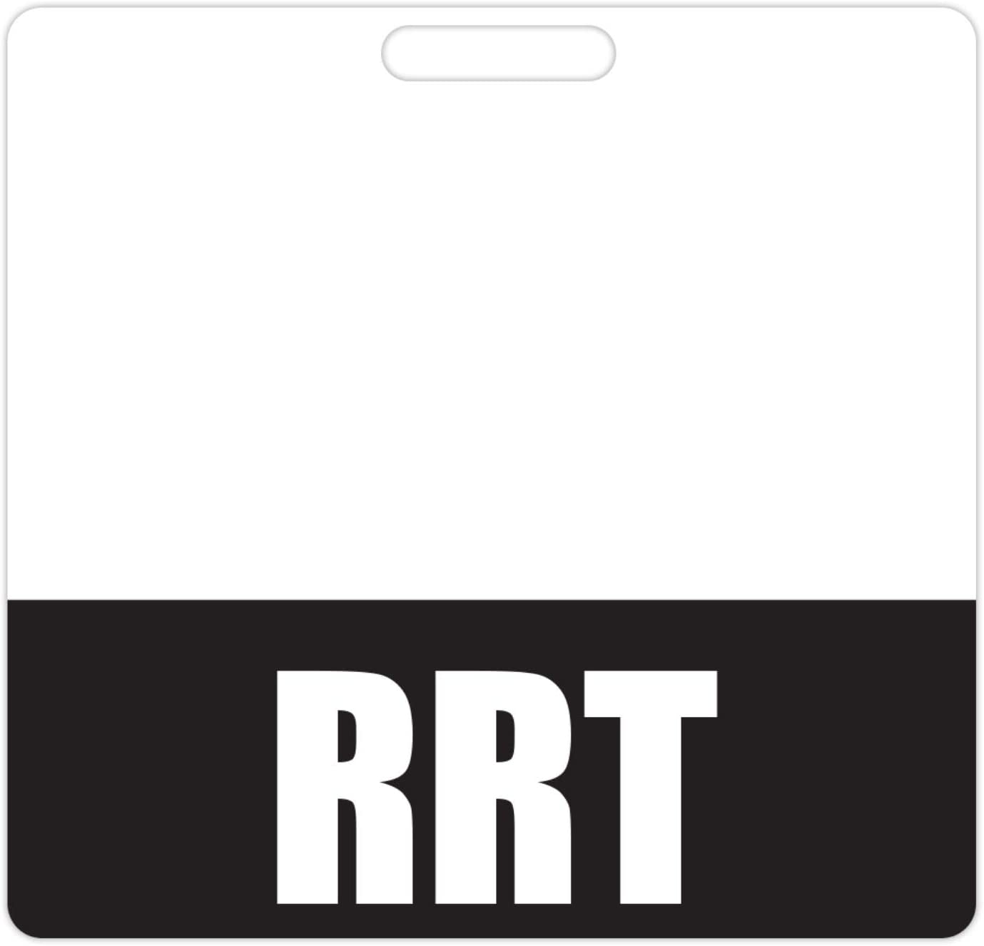 RRT Badge Buddy (Black) - Horizontal Heavy Duty Badge Tags for Registered Respiratory Therapists - Double Sided Badge Identification Card