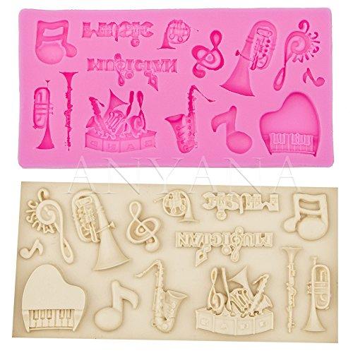 Anyana Notas de la música adornos pequeños elementos azúcar pastel de silicona para hornear (Adornos De Musica)