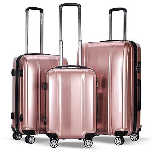 - Durable 3 Piece Luggage Sets,BestComfort 8 Spinner Wheels Carry on Suitcase with Combination Lock