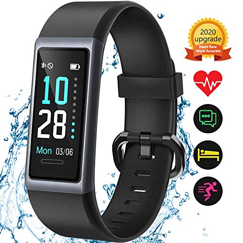 Kungix Fitness Armband, Fitness Uhr mit Pulsmesser, Schrittzähler, IP68 Wasserdichtes Fitness Tracker mit Angeschlossenem GPS, Activity Tracker Uhr mit 14 Sport-Trainingsmodi, für iOS Android iPhone