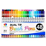 Smart Color Art Dual Tip Brush Pens with Fineliner Tip 0.4 Art Markers (48 Unique Colors)