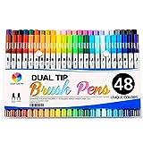 Smart Color Art Dual Tip Brush Pens with Fineliner Tip 0.4 Art Markers (48 Unique Colors)