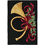 Safavieh Vintage Poster Collection VP321A Hand-Hooked Black and Multi Wool Area Rug, 2 feet by 3 feet (2′ x 3′)