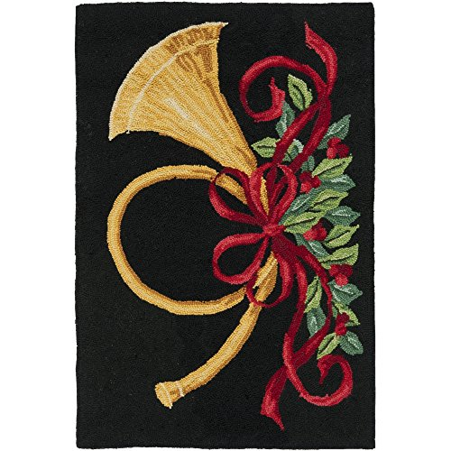- Safavieh Vintage Poster Collection VP321A Hand-Hooked Black and Multi Wool Area Rug, 2 feet by 3 feet (2' x 3')