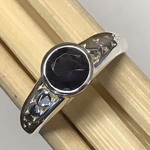 Natural 1ct Iolite { Water Sapphire } 925 Sterling Silver Engagement Ring 6 (Iolite Bezel Ring)