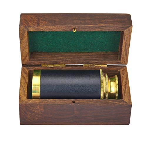 6 Inch Vintage Antique Handheld Adjustable Zoomable Monocular Nautical Brass Telescope Copper Finish In Hand Crafted Rosewood Box Navy Pirate Navigation Spyglass Pirate Accessory Gifts For Kids by The Great Indian Bazaar