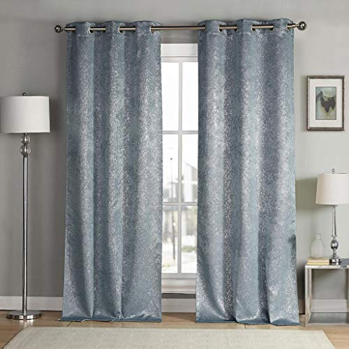 (kensie Maddie Silver Metallic Textured Blackout Darkening Grommet Top Window Curtains Pair Drapes for Bedroom, Living Room-Set of 2 Panels, W38