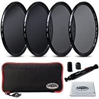 2mm Ultrathin, Rangers 55mm Full ND2, ND4, ND8, ND16 Neutral Density Filters and Carrying Case + Lens Cleaning Cloth + Lens Cleaning Pen, without vignetting