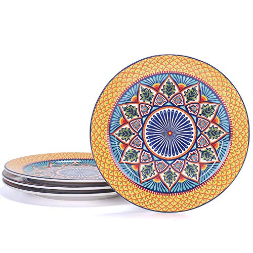 Bico Havana Ceramic 11 inches Dinner Plates, Set of 4, for Pasta, Salad, Maincourse, Microwave & Dishwasher Safe, House Warming Birthday Anniversary Gift
