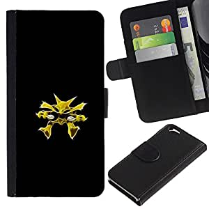 YiPhone /// Tirón de la caja Cartera de cuero con ranuras para tarjetas - Meter Monster Amarillo - Apple Iphone 6