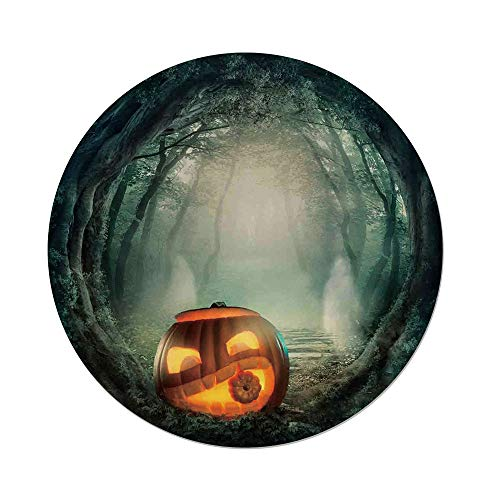iPrint Polyester Round Tablecloth,Halloween Decorations,Scary Halloween Pumpkin Enchanted Forest Mystic Twilight Party Art,Orange Teal,Dining Room Kitchen Picnic Table Cloth Cover,for Outdoor Indoor -