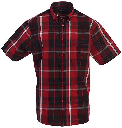 - Gioberti Men's Plaid Short Sleeve Shirt, Red/Black/White Line, Medium