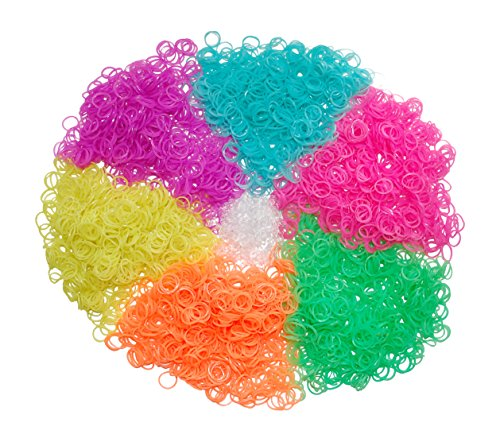 3600 Piece Glow in the Dark Loom Bands Kit - Rubber Band Bracelet Refill Over 150 Clips (6 Neon Rainbow Loom Bands Colors - Pink, Blue, Green, Purple, Yellow and Orange) (Rainbow Loom C Clips Only compare prices)