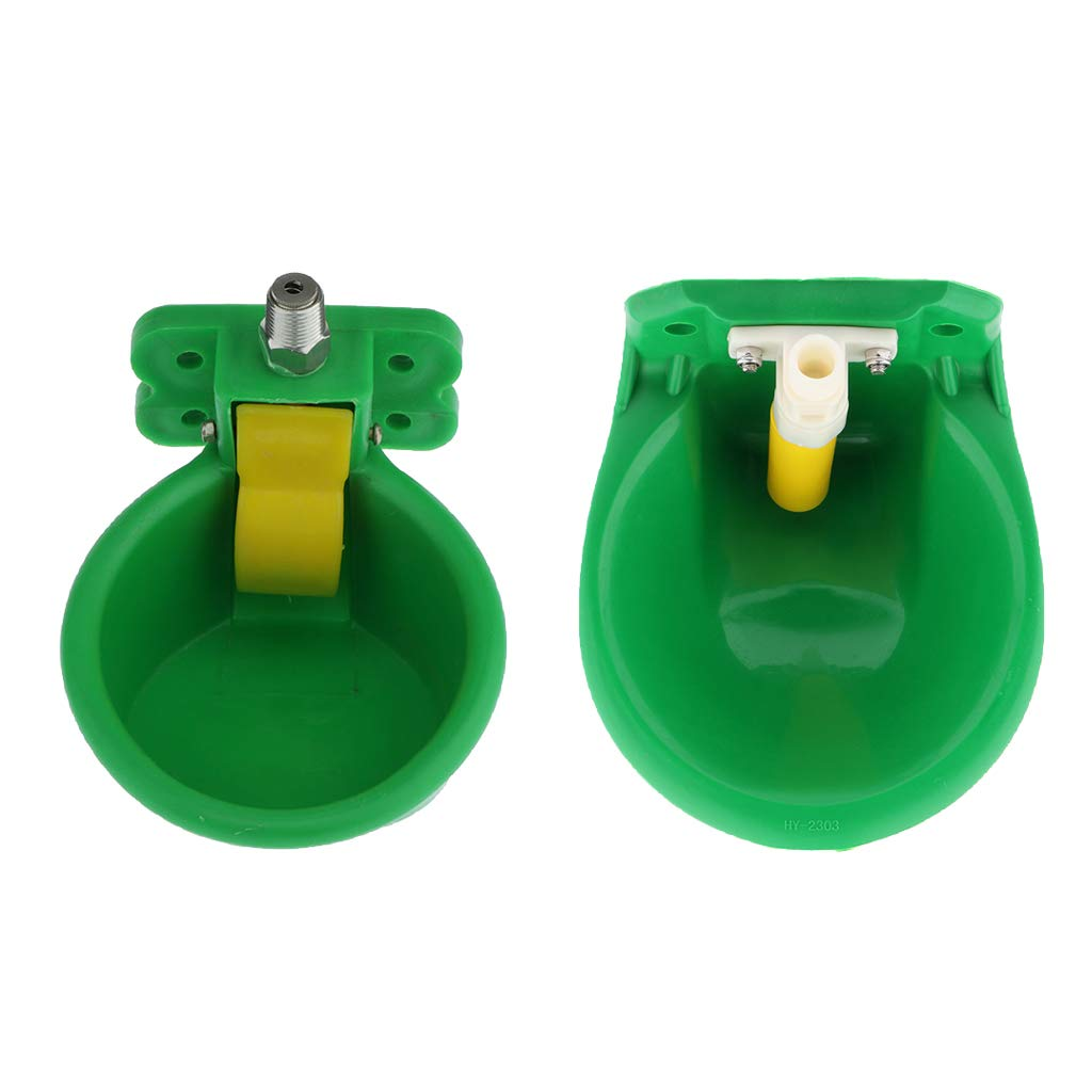 Serenable 2 x Plastic Farm Sheep Water Bowls, Automatic Drinking Tool for Goat Pig - Drinking Trough Livestock Supplies, Green by Serenable