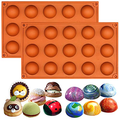 (Funshowcase Small 15 Cavities Hemisphere Dome Semisphere Teacake Silicone Mold 2 in Set)