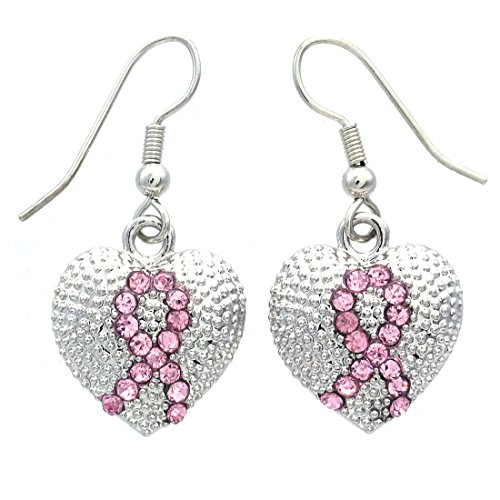 Breast Cancer Awareness Heart - Pink Ribbon Breast Cancer Awareness Heart Dangle Earrings Light Pink Rhinestones Fashion Jewelry