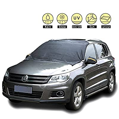 Magnetic Ice, Snow, Frost Guard Windshield Cover for Car, Truck, SUV – Protective All Season Waterproof Windproof Window Screen with Magnet Mirror Covers – Winter Auto Gear for Men, Women Drive