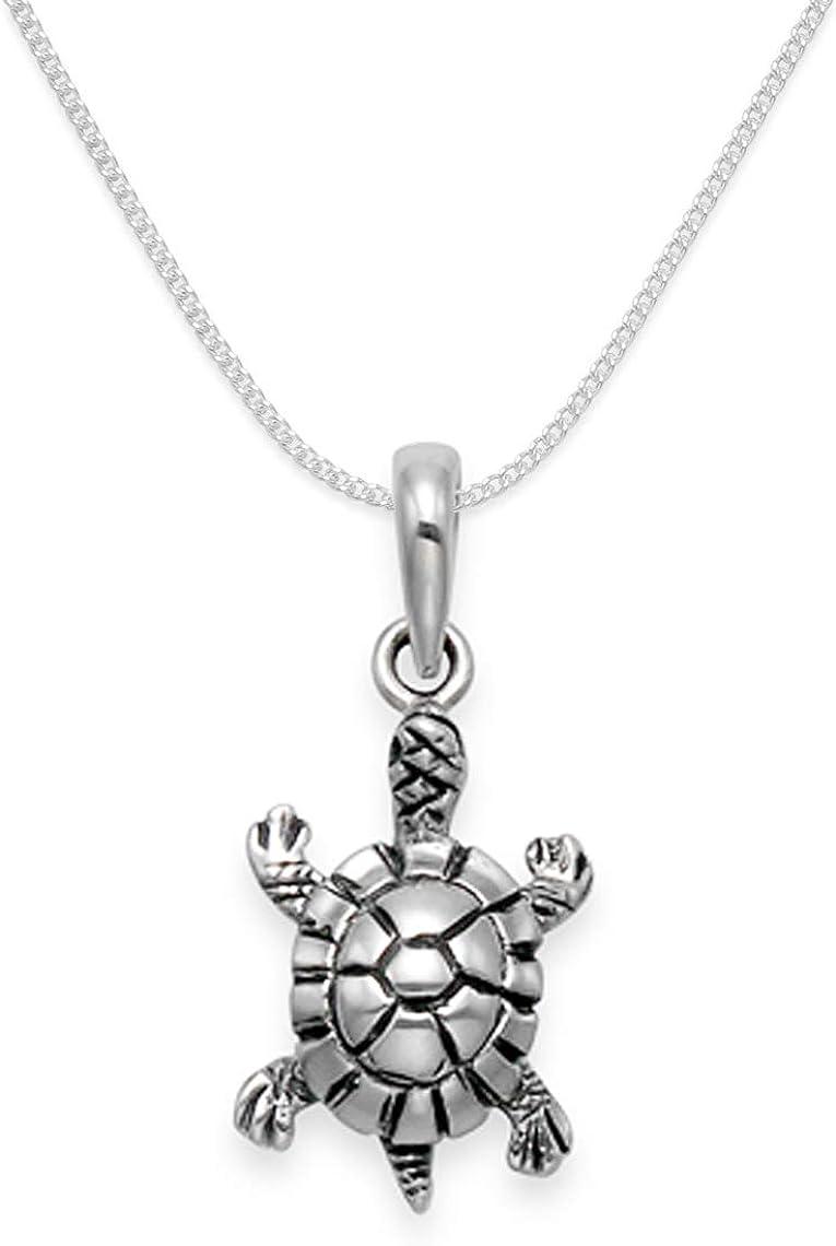 40cm Halskette 925er Sterling Silber Mädchen Kinder //244 Schildkröte Anhänger
