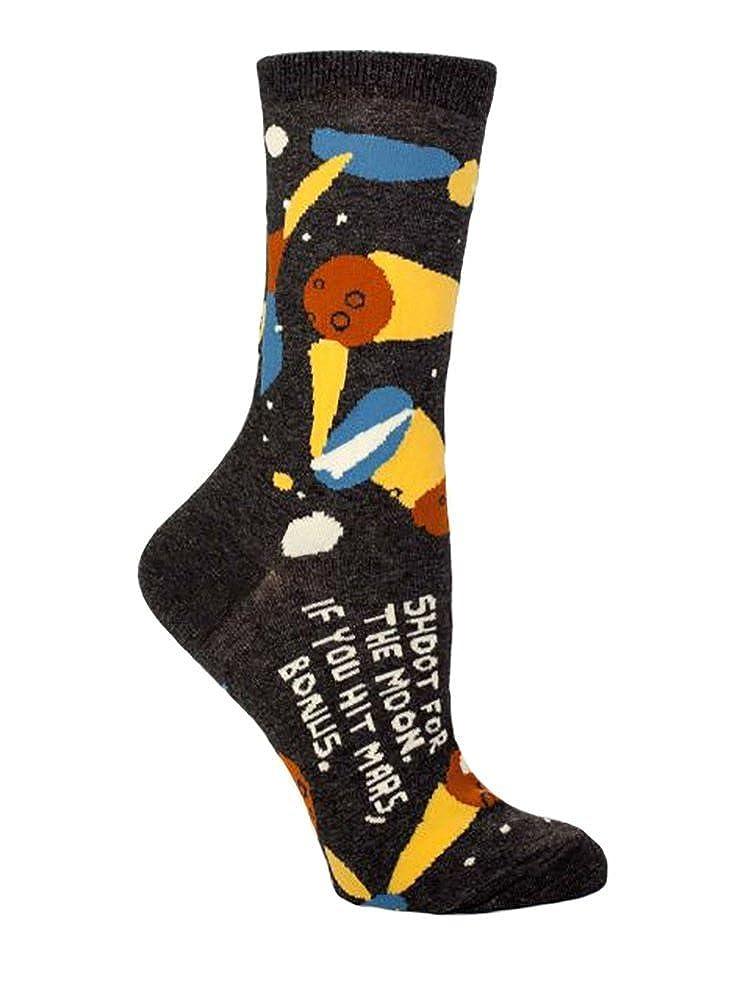 Blue Q Sock, shoot for the moon crew socks