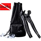 Athletico Scuba Diving Bag - Mesh Travel Backpack for Scuba Diving and Snorkeling Gear & Equipment - Dry Bag Holds Mask, Fins, Snorkel, and More (Black)