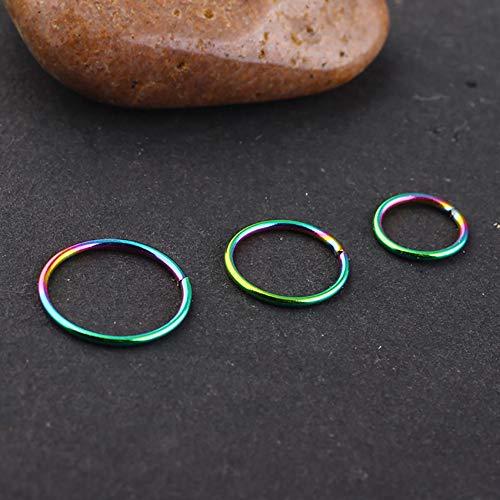 SOVSEFD 18 PCS 20 Gauge Fake Septum Nose Rings Hoop Non Piercing 316L Stainless Steel Clip On Faux Lip Ear Nose Hoop Ring Studs Earrings Fake Body Piercings for Women Men Girl Piercing (6/8/10MM)