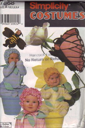 Simplicity Costumes Pattern 7868 ~ Toddlers Flower, Bee & Butterfly by Andrea Schewe ~ Sizes 1/2-4 (Toddler Crow Costume)