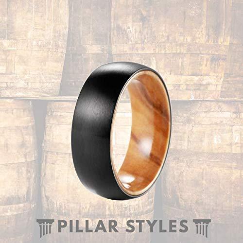 Amazon Com Titanium Olive Wood Ring 8mm Mens Wedding Band