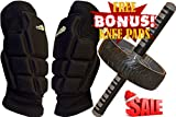 AB Roller Wheel & FREE Knee Pads Set for Abdominal Six Pack & Core Workout - Highly Cushioned Thick and Breathable Multifunctional Knee Protectors Pair- Rollout Crunch Machine - Home Gym Training Kit