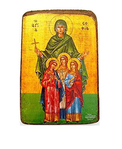 (Wooden Greek Christian Orthodox Wood Icon of Saint Sofia Sophia / A0)