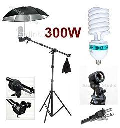 Ardinbir Studio 300W Photo Boom Umbrella kit with Continuous Light, Grip head and Stand
