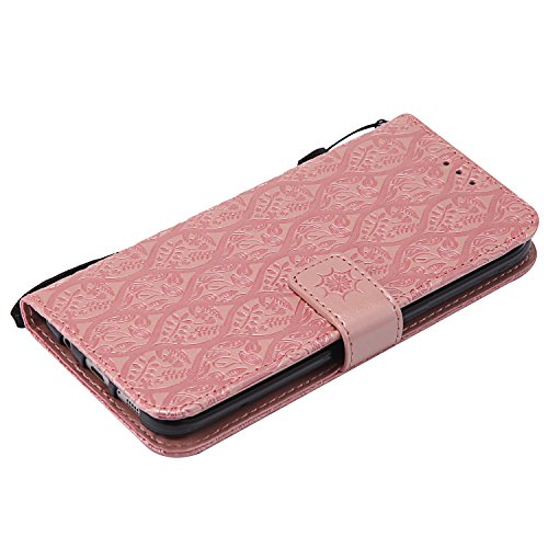 Samsung Galaxy S7 Edge / G935 Hülle Leder Blumenprägung, Lomogo Schutzhülle Brieftasche mit Kartenfach Klappbar Magnetverschluss Stoßfest Kratzfest Handyhülle Case für Samsung Galaxy S7Edge - LOYYO230 Rosa Gold