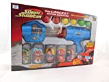 Children Tin Can Alley Shooting Game Kids Fun Toy With Safe Soft Foam Balls Blue